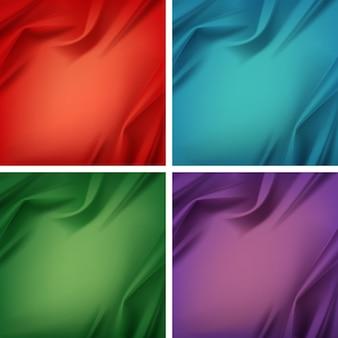 Set aus farbigem satin-tuch