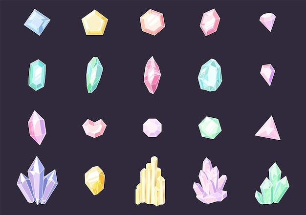 Set aus farbigen kristallen. bunte schmucksteine, kostbare luxussteine, glänzende kristallstalagmiten und stalaktiten. quarz, saphir und amethyst edelstein vektor isoliert set