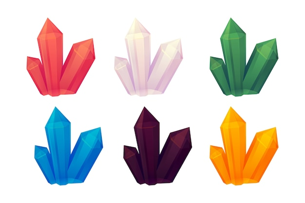 Set aus farbigen kristallen