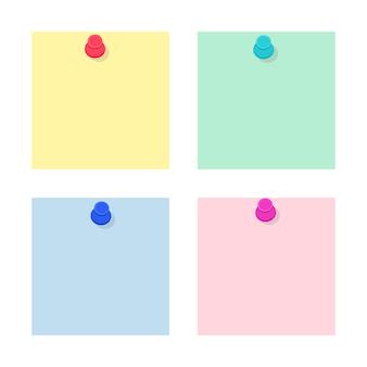 Set aus farbigen notizaufklebern aus leerem papier, die mit stecknadeln befestigt sind. sammlung von schul- und bürobedarf. flache vektorillustration lokalisiert auf weißem hintergrund