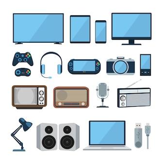 Set aus flachem design-gadget und elektronischem gerät