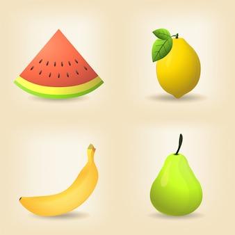 Set aus früchten, wassermelone, zitrone, banane und birne