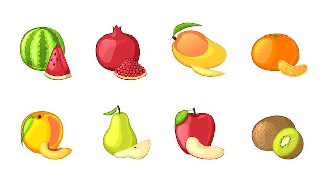 Set aus ganzen und geschnittenen früchten