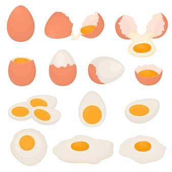 Set aus gekochten, rohen und gebratenen hühnereiern. rührei zum frühstück. braune schale. gesundes essen. vektor-illustration