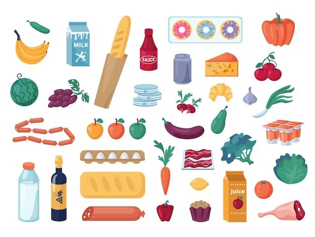 Set aus gemüse und obst, milch- und fleischprodukten