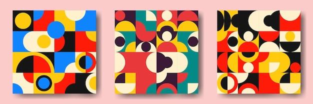 Set aus geometrischen abstrakten mustern aus der mitte des jahrhunderts mit einfachen formen