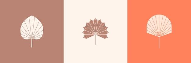 Set aus getrockneten palmblättern silhouette im einfachen stil. vektor-tropisches blatt-boho-emblem. blumenillustration zum erstellen von logos, mustern, t-shirt-drucken, tätowierungen, social-media-posts und geschichten