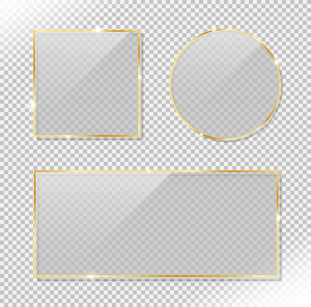 Set aus glänzendem kreis, rechteck und quadratischem goldrahmen mit glänzendem blendeffekt. realistischer vektor des reflektierenden glases