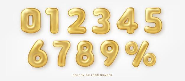 Set aus glänzenden goldenen ballonnummern und prozentangaben Premium Vektoren