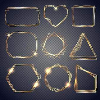 Set aus glänzenden goldrahmen
