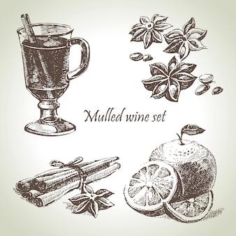 Set aus glühwein, obst und gewürzen, handgezeichnete illustrationen