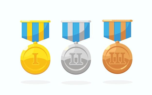 Set aus gold-, silber- und bronzemedaille mit stern für den ersten platz. trophäe, auszeichnung für gewinner auf weißem hintergrund. goldenes abzeichen mit band. leistung, sieg.