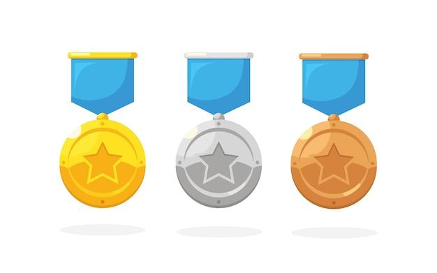 Set aus gold-, silber- und bronzemedaille mit stern für den ersten platz. trophäe, auszeichnung für gewinner im hintergrund. goldenes abzeichen mit band. leistung, sieg.