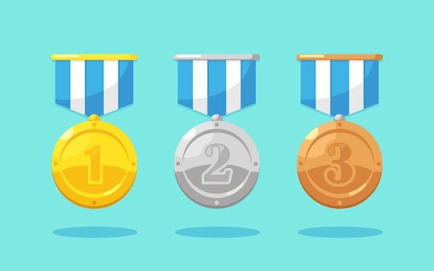 Set aus gold-, silber- und bronzemedaille mit stern für den ersten platz. trophäe, auszeichnung für gewinner im hintergrund. goldenes abzeichen mit band. leistung, siegeskonzept.