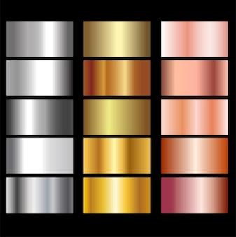 Set aus goldenem und metallischem farbverlauf.