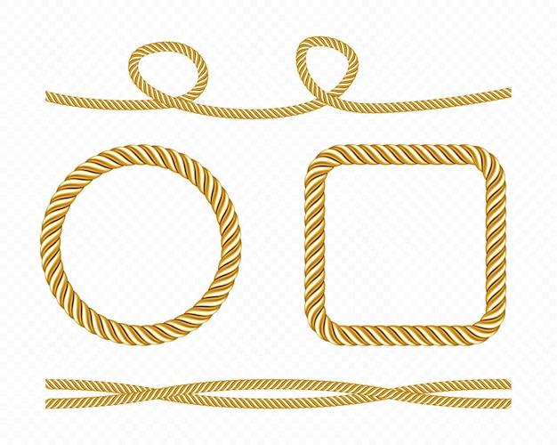Set aus goldenen seidenschnüren und runden und quadratischen rahmen aus goldenen fäden aus satinseilen.