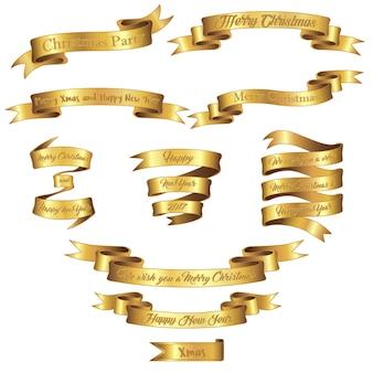 Set aus goldfarbband