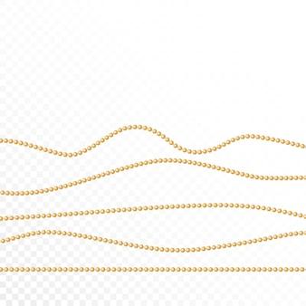 Set aus goldperlen und goldketten