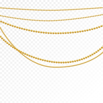 Set aus goldperlen und goldketten.