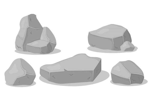 Set aus grauen granitsteinen in verschiedenen formen. graphitfelsen, kohle und felsen auf weißem hintergrund. grauer steinhaufen, karikaturikonen.