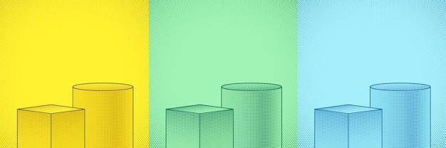 Set aus grün-gelbem und blauem geometrischem podest mit comic-halbtonpunkt dekorieren