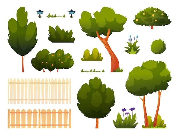 Set aus grünen bäumen, büschen, gras und blumen, zaun oder hecke, isolierter hinterhof oder parksatz von cartoon