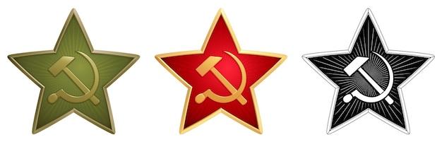 Set aus grünen, roten und monochromen sowjetischen sternen mit hammer und sichel für militärische seitenkappen