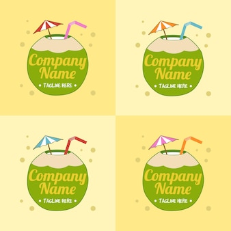 Set aus grüner logo-vorlage für kokosnussgetränke mit regenschirm und strohhalm in hellgelbem hintergrund