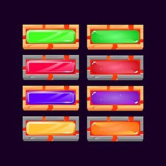 Set aus gui-gelee und kristall mit lavaknopf mit holz- und felsrahmenrand für spiel-ui-asset-elemente