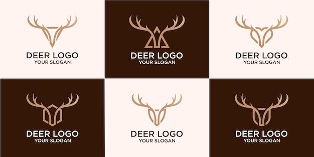 Set aus hirschkopf und hirschgeweih logo design