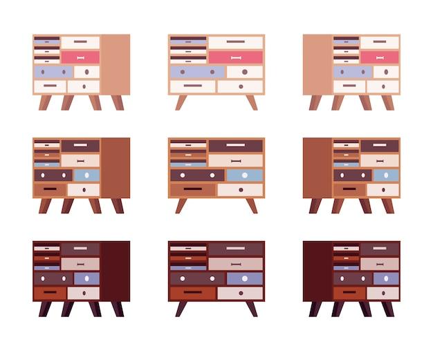 Set aus hohen retro-sideboards mit schubladen und bücherregalen