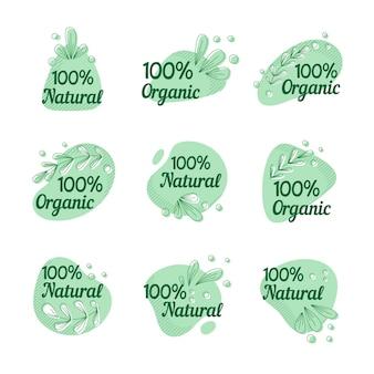 Set aus hundertprozentigen natürlichen etiketten