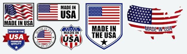 Set aus in den usa hergestelltem etikett für einzelhandelsprodukte oder stoffartikel