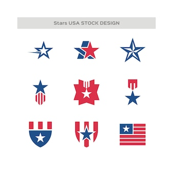 Set aus in den usa hergestelltem logo
