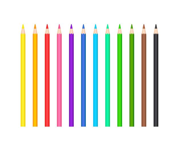 Set aus klassischen farbigen, gespitzten bleistiften in 12 farben. büro- und schulschreib- oder zeichnungsbriefpapiersammlung. vektor-illustration isoliert auf weißem hintergrund