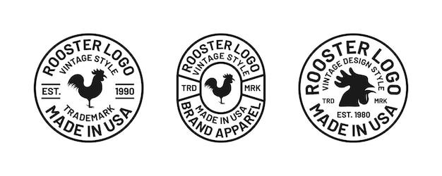 Set aus klassischer retro-typografie-abzeichenkopf-chiken-bekleidungsbranding-kollektion