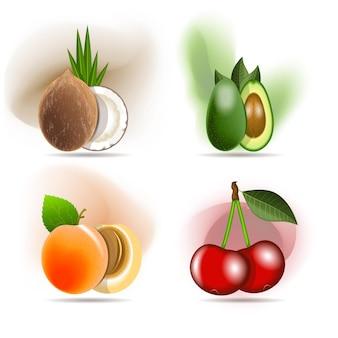 Set aus köstlichen früchten, kokos, avocado, aprikose und süßkirsche.