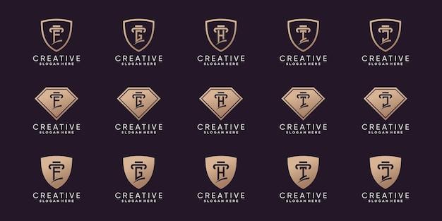 Set aus kreativem bundle-monogramm-logo-design-anfangsbuchstabe f bis j mit strichzeichnungen und negativem raumkonzept. premium-vektor