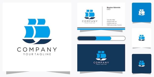 Set aus kreativem segelboot-logo mit coolem farbverlauf und visitenkarten-design-vorlage
