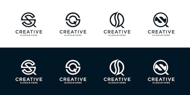 Set aus kreativen buchstaben s und q monogramm design modern minimalistisch