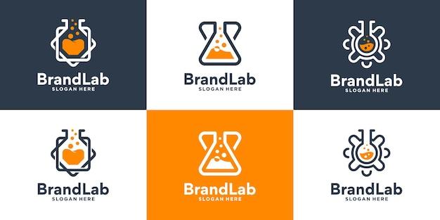 Set aus kreativer glaslabor-logo-design-kollektion