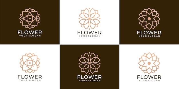 Set aus kreativer, minimalistischer flower spa beauty und boutique