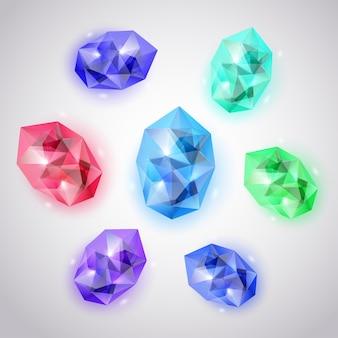 Set aus kristallen in verschiedenen farben mit blendungen und schatten
