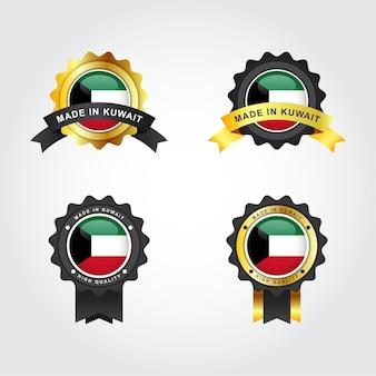 Set aus kuwait mit emblem-abzeichen-etikettenschablonendesign