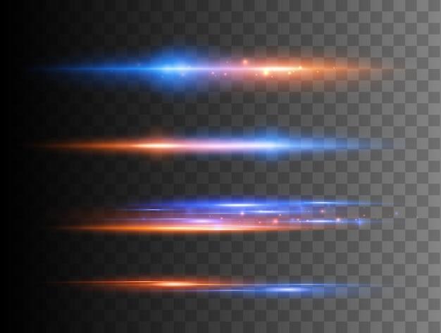 Set aus leuchtenden funkeln und lens flares leuchtenden lichtern isoliert auf transparentem hintergrund