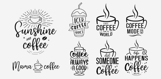 Set aus lustigem kaffee-schriftzug-design für t-shirt-becher-poster und vieles mehr