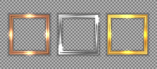 Set aus luxuriösem quadratischem rahmen aus bronze, silber und gold