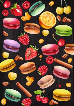 Set aus macarons, himbeeren, erdbeeren, weißen und roten kirschen, kaffeebohnen, zimtstangen und pyracantha-beeren