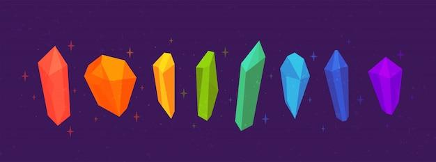 Set aus mehrfarbigen magischen hexenkristallen