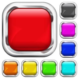 Set aus mehrfarbigen quadratischen knöpfen mit metallischen rändern